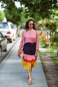Ann Taylor Pleated Block Print Skirt