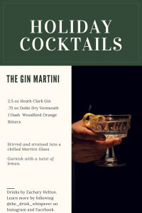 Holiday Cocktail Gin Martini