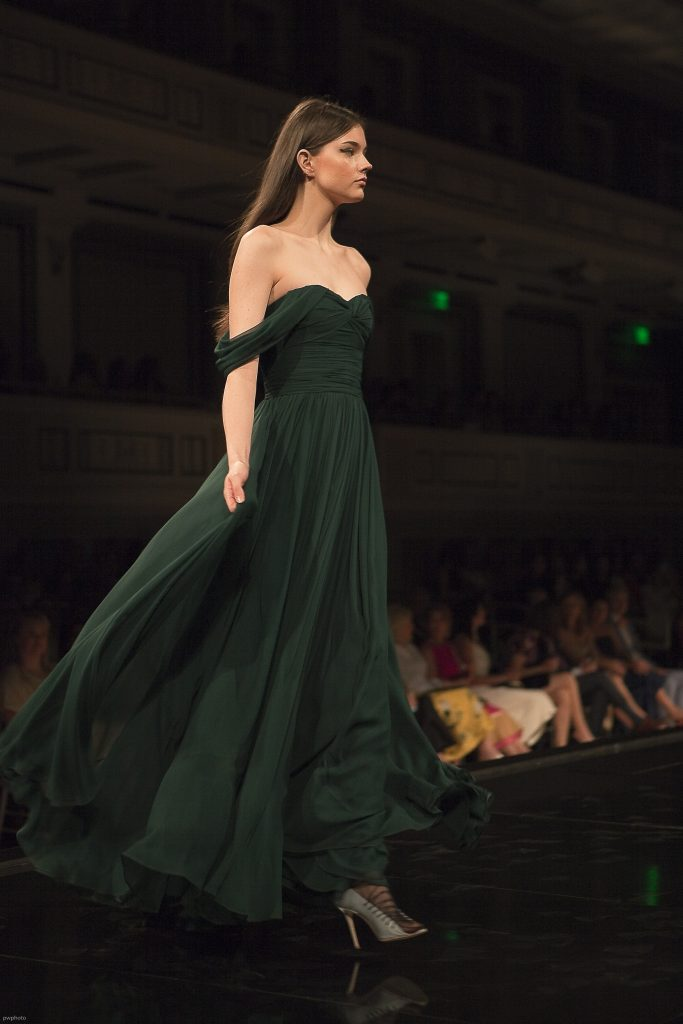Model wearing Jason Wu Green Gown at Symphony Fashion Show