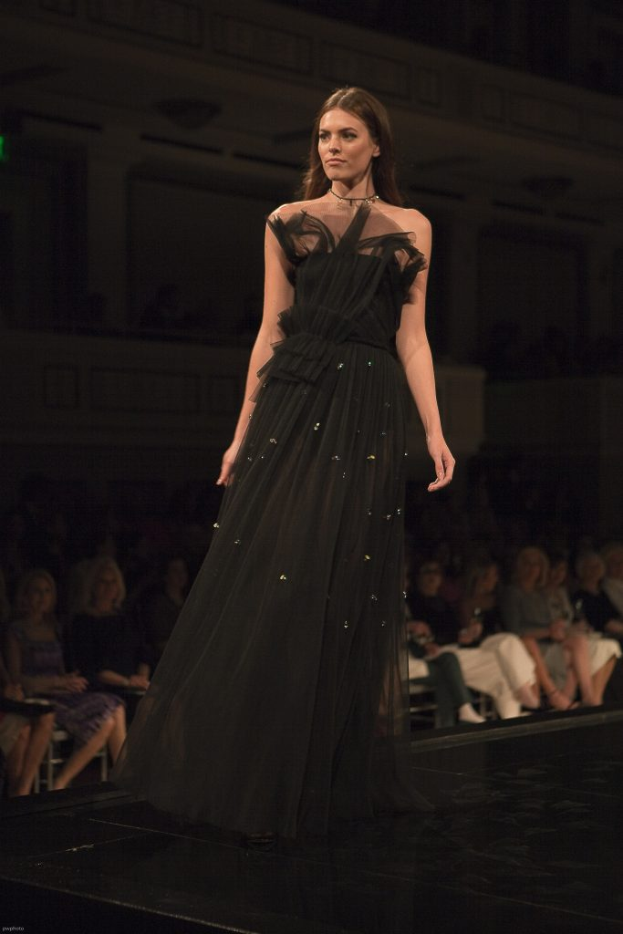 Model wearing Jason Wu Black Gown at Symphony Fashion Show