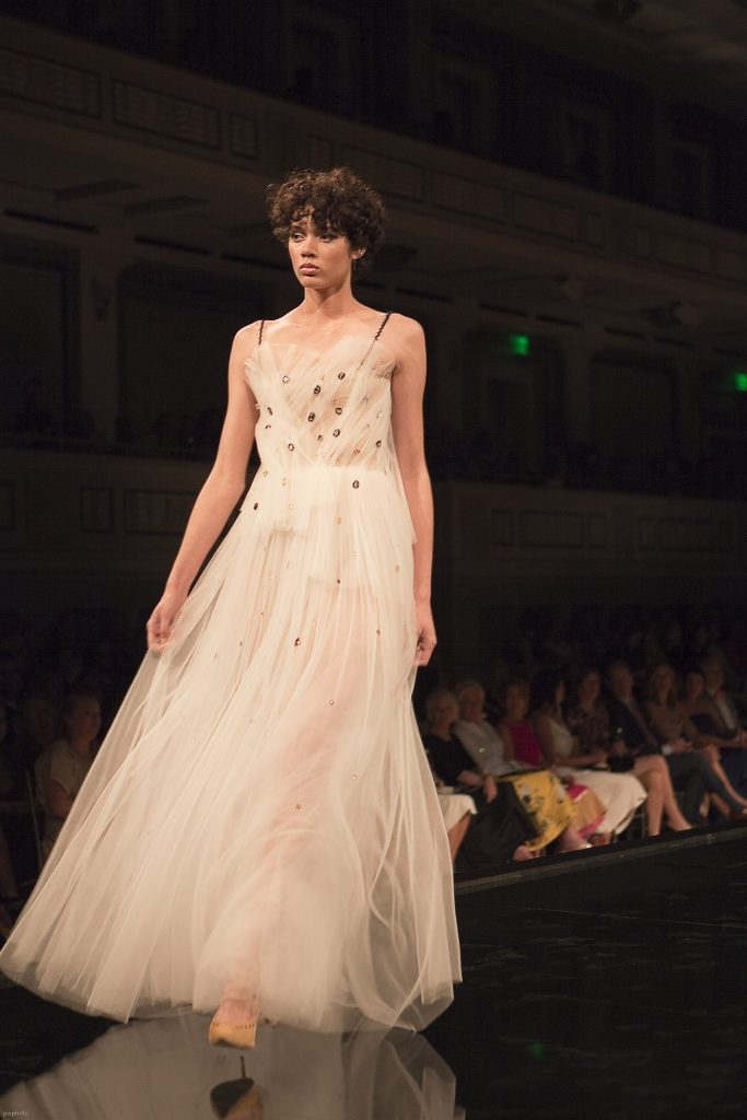 Model wearing Jason Wu Nude Gown at Symphony Fashion Show